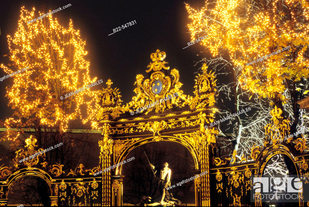 Stock Photo: Christmas decorations. Place Stanislas. Nancy, Meurthe-et-Moselle. Lorraine, France.