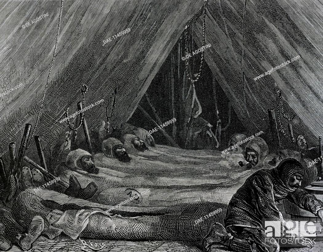 Interior Of The Explorers Tent Engraving Scene From British