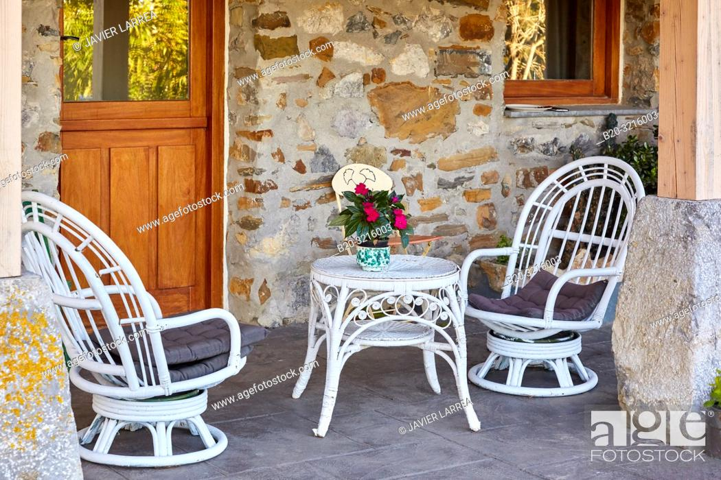 Stock Photo: porch, Urain Apartments, Basque farmhouse, Deba, Gipuzkoa, Basque Country, Spain, Europe.