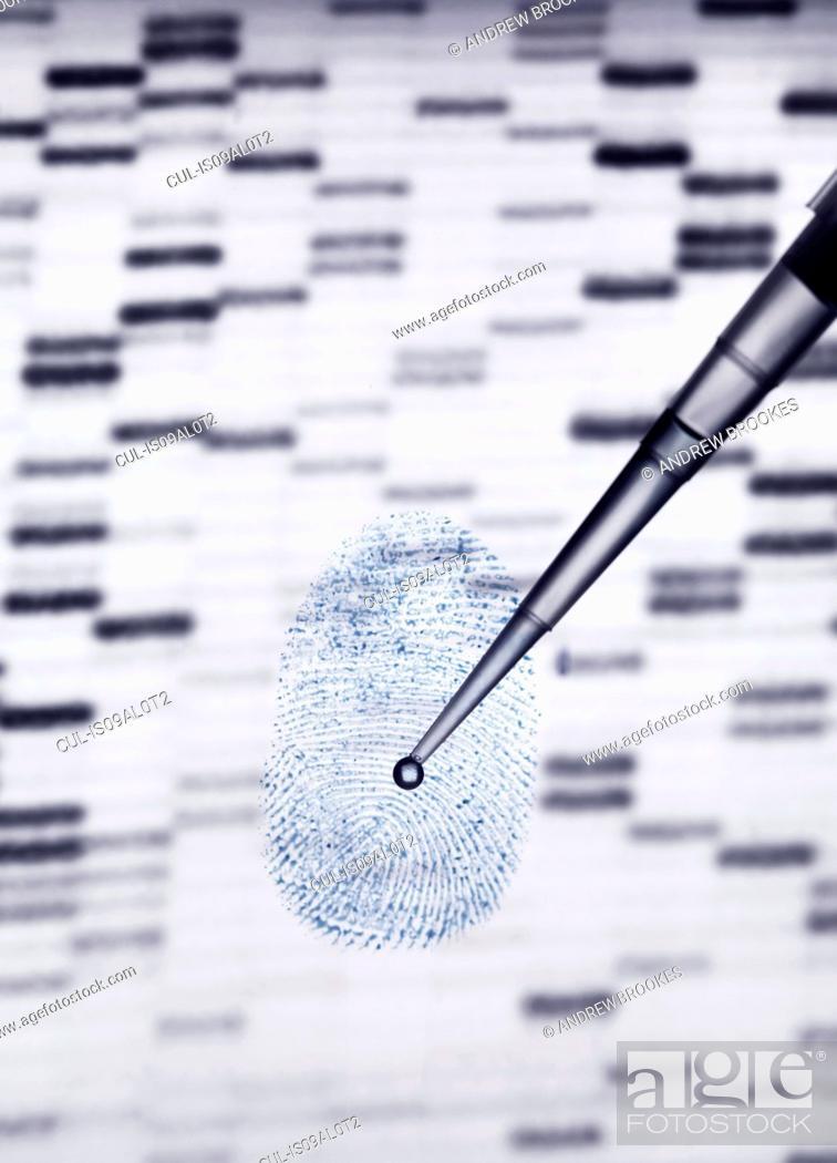 Imagen: DNA sample being pipetted onto human fingerprint and DNA gel illustrating genetic engineering.