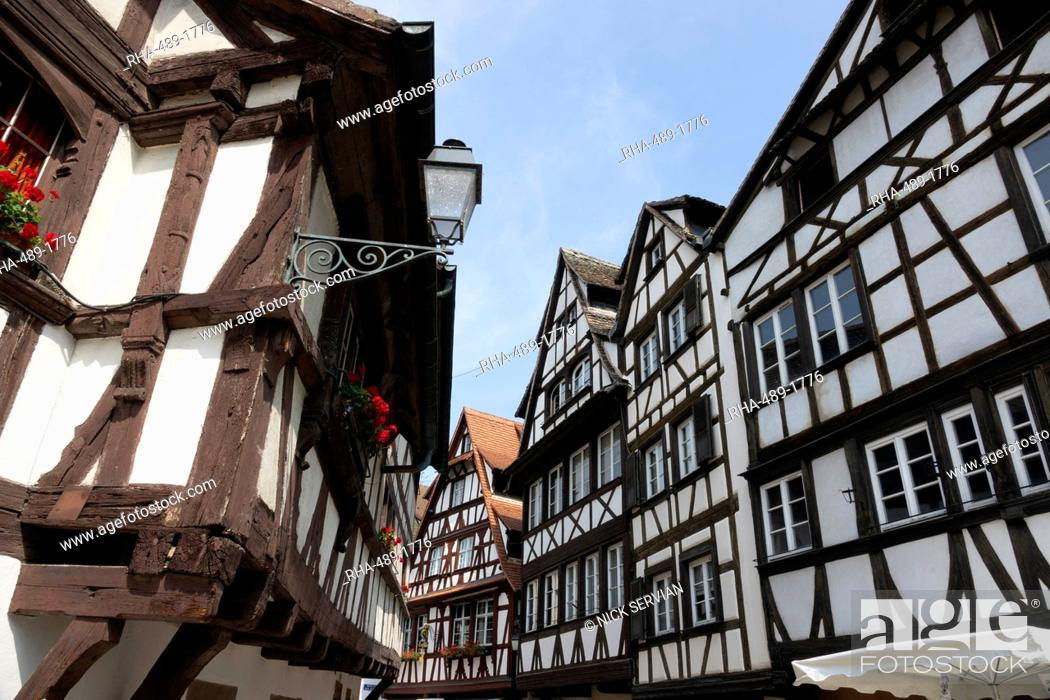 Stock Photo: Medieval buildings, Petite France, UNESCO World Heritage Site, Strasbourg, Alsace, France, Europe.