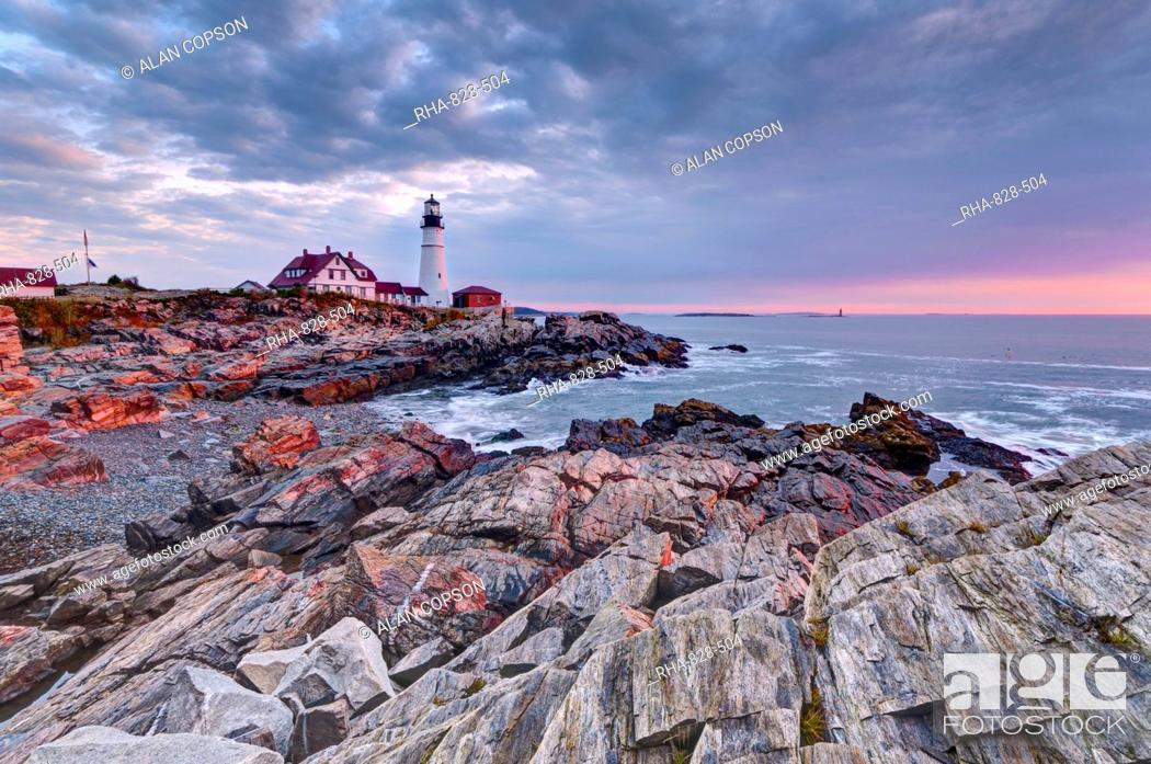 Stock Photo: Portland Head Lighthouse, Portland, Maine, New England, United States of America, North America.
