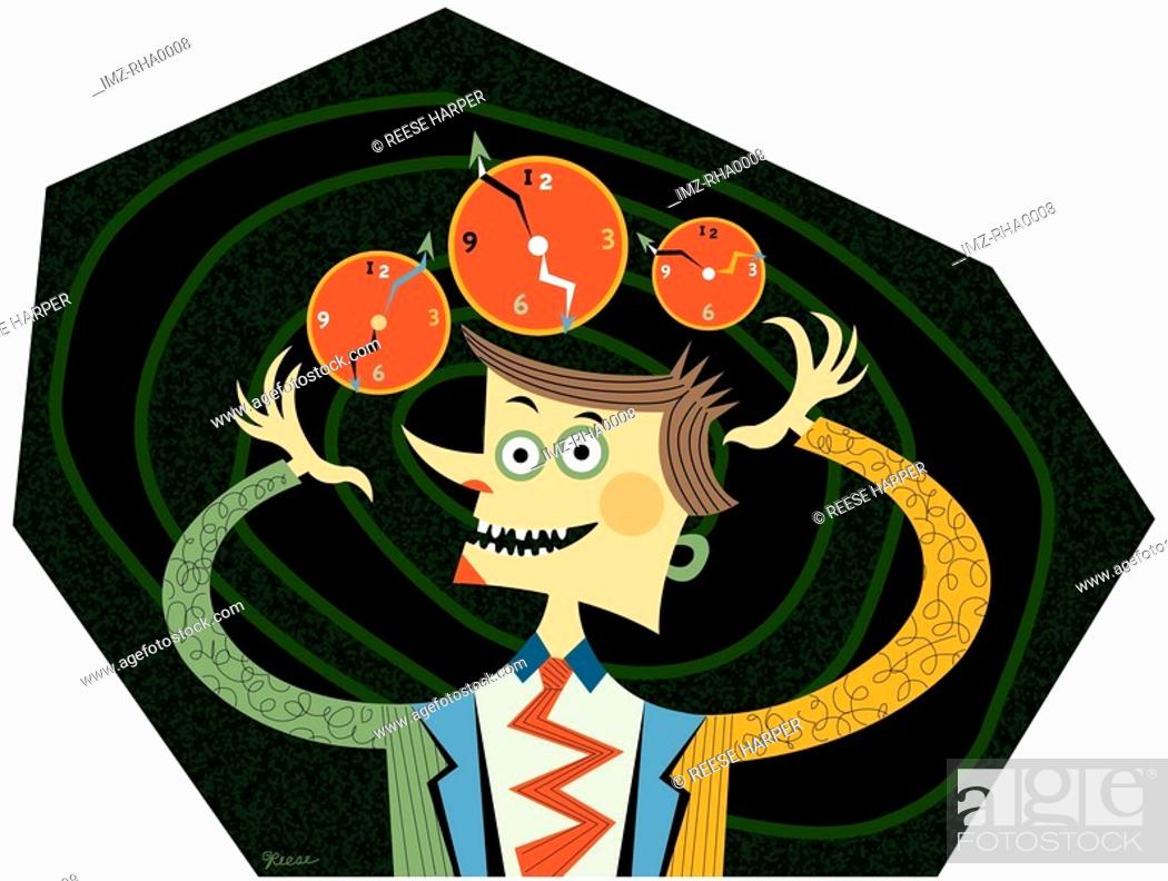 Stock Photo: A busy man juggling three clocks.