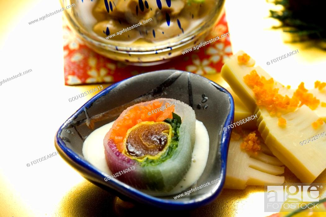 Stock Photo: Japanese food in a bowl, high angle view, close up, Japan.
