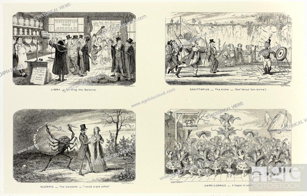 Stock Photo: Libra - Striking the Balance from George Cruikshank's Steel Etchings to The Comic Almanacks: 1835-1853 (top left) - 1846, printed c.