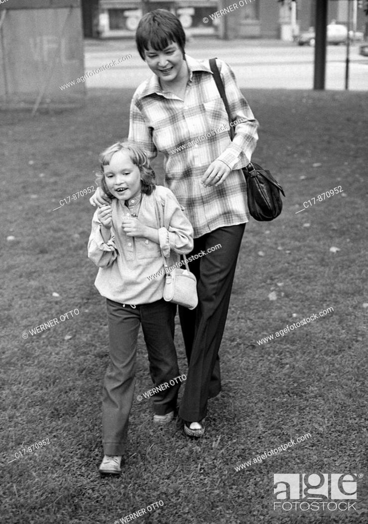 Seventies Black And White Photo People Young Woman Takes A Walk