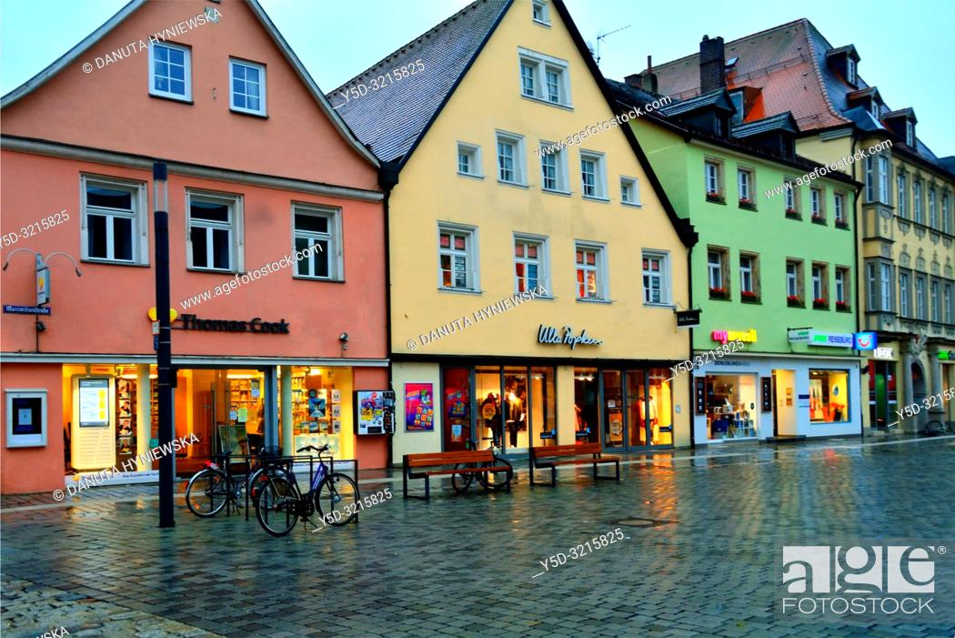 Stock Photo: Facades of historic townhouses in the evening, Maximilianstrasse - main touristic promenade in old town, Bayreuth, capital of Upper Franconia, Bavaria, Bayern.