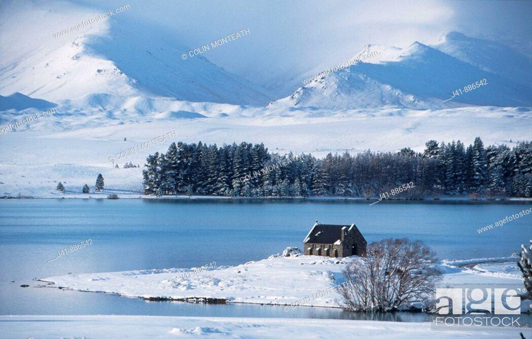 Stock Photo: Church of the Good Shepherd winter Lake Tekapo South Island New Zealand.