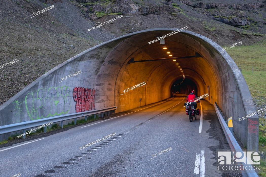 Stock Photo: Almannaskard Tunnel near Hofn town in Iceland.