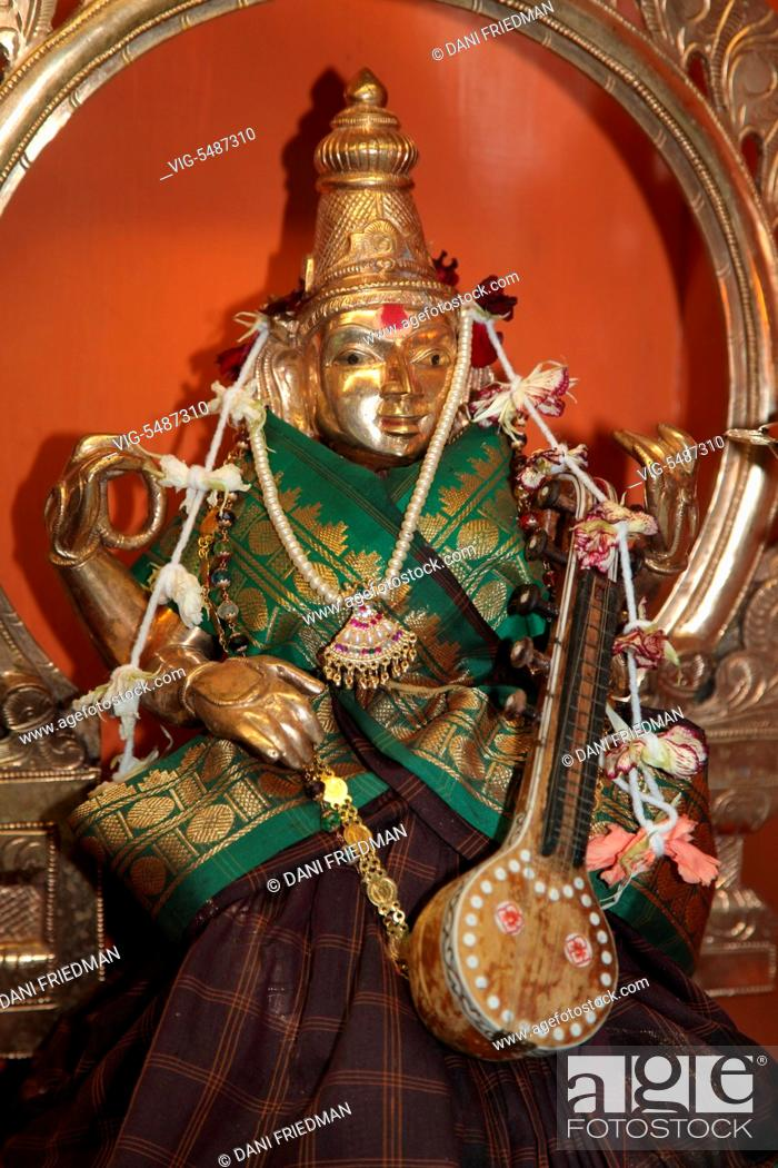 Goddess Saraswati (Sarasvati) at a Tamil Hindu temple in