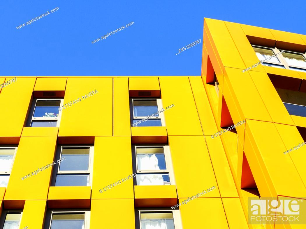 Stock Photo: Modern apartment buildings in Enderby Wharf Greenwich - South East London, England.