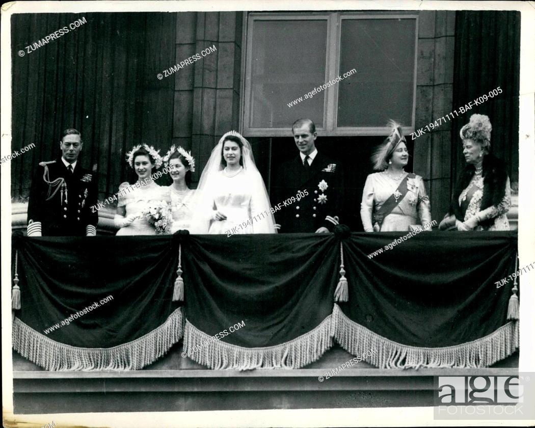 Imagen: Nov. 11, 1947 - The Royal wedding of Princess Elizabeth and the Duke of Edinburgh. Photo shows The Royal family on the balcony of Buckingham palace.