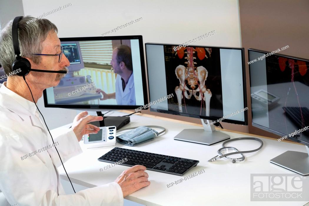 Stock Photo: Cardiologist during a video consultation with a colleague for a phlebitis diagnosis.