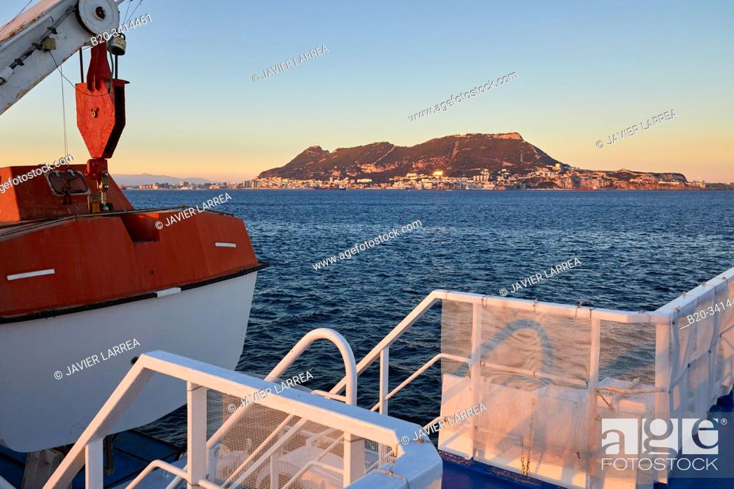 Stock Photo: Ferry crossing the Strait of Gibraltar from Morocco to Spain, In the background Rock of Gibraltar, Africa, Europe.