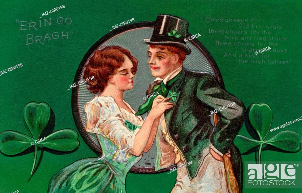 Stock Photo: An Irish poem printed on a vintage card with an illustration of a young man and woman.