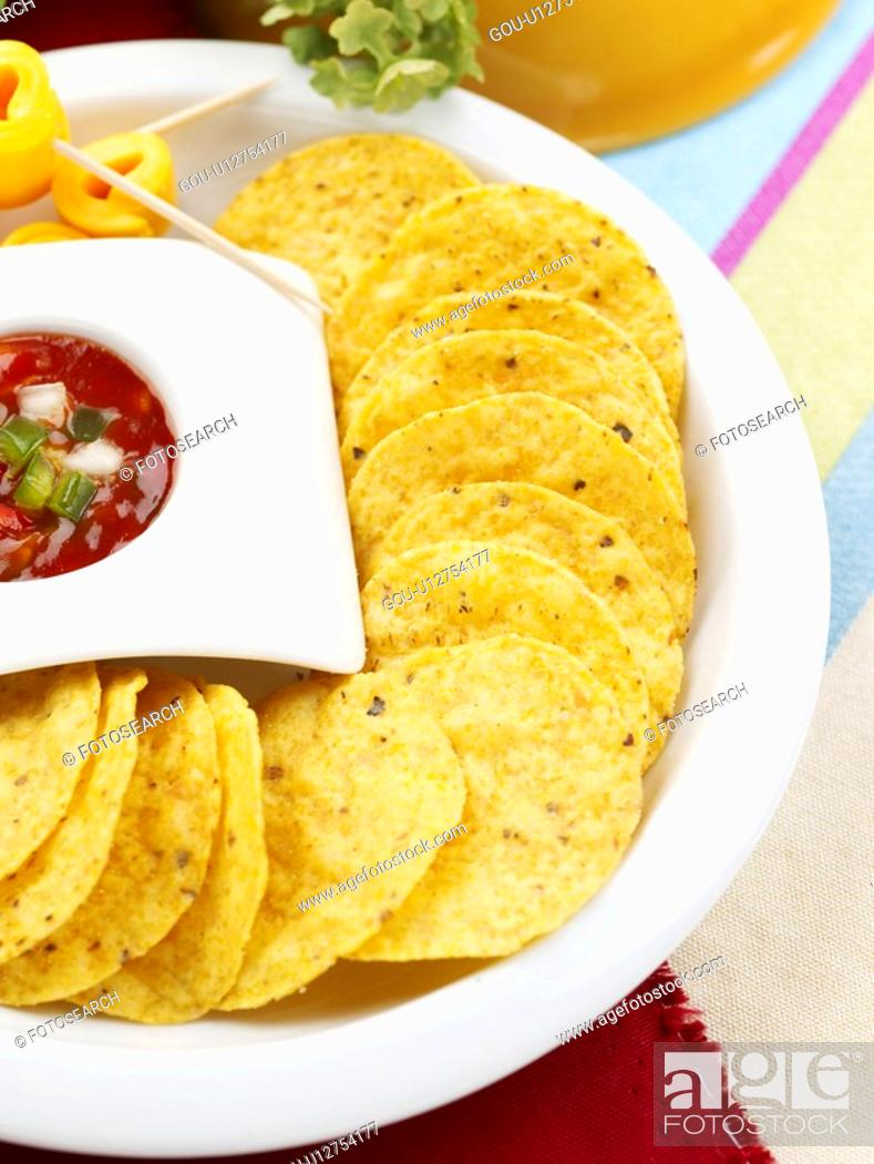 Stock Photo: food styling, chili sauce, pan, napkin, tablecloth, decoration, nachos.
