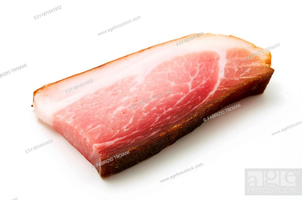 Stock Photo: Slice of Speck juniper-flavored ham originally from Tyrol on a white background.