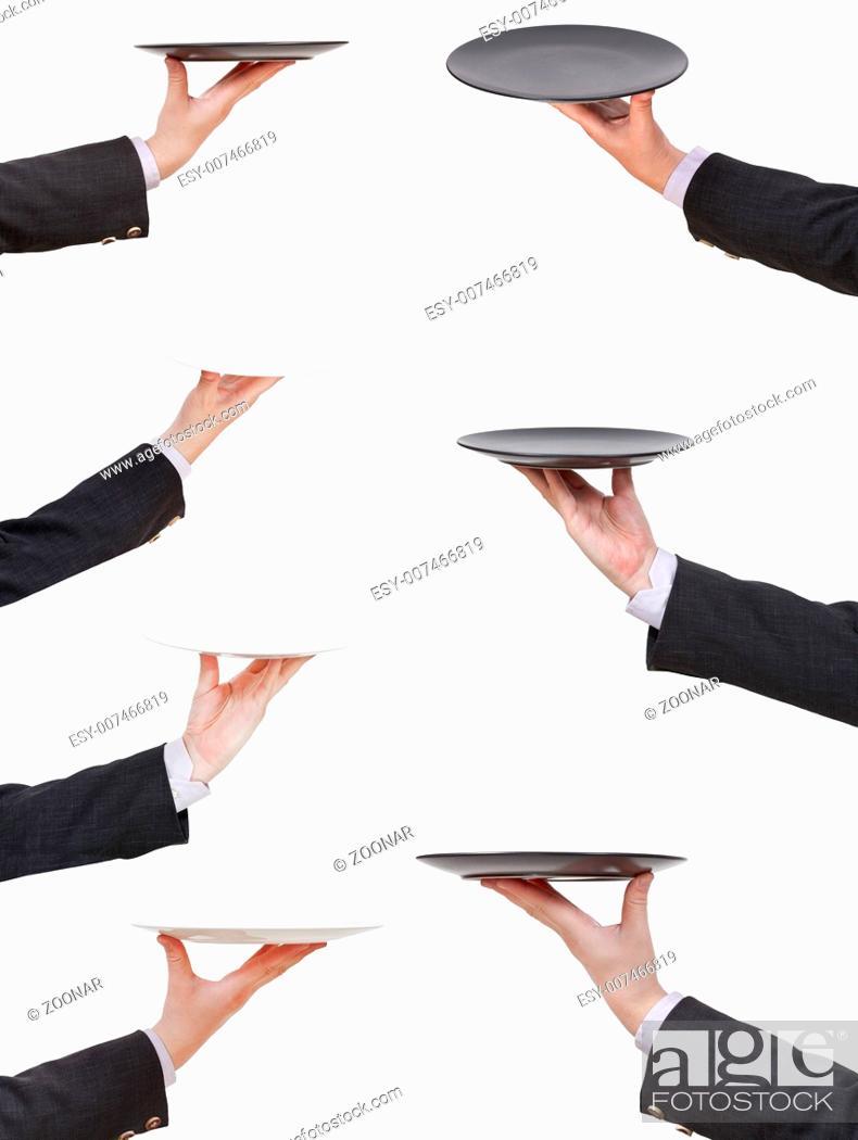 Photo de stock: set of businessman palms with empty flat plate.