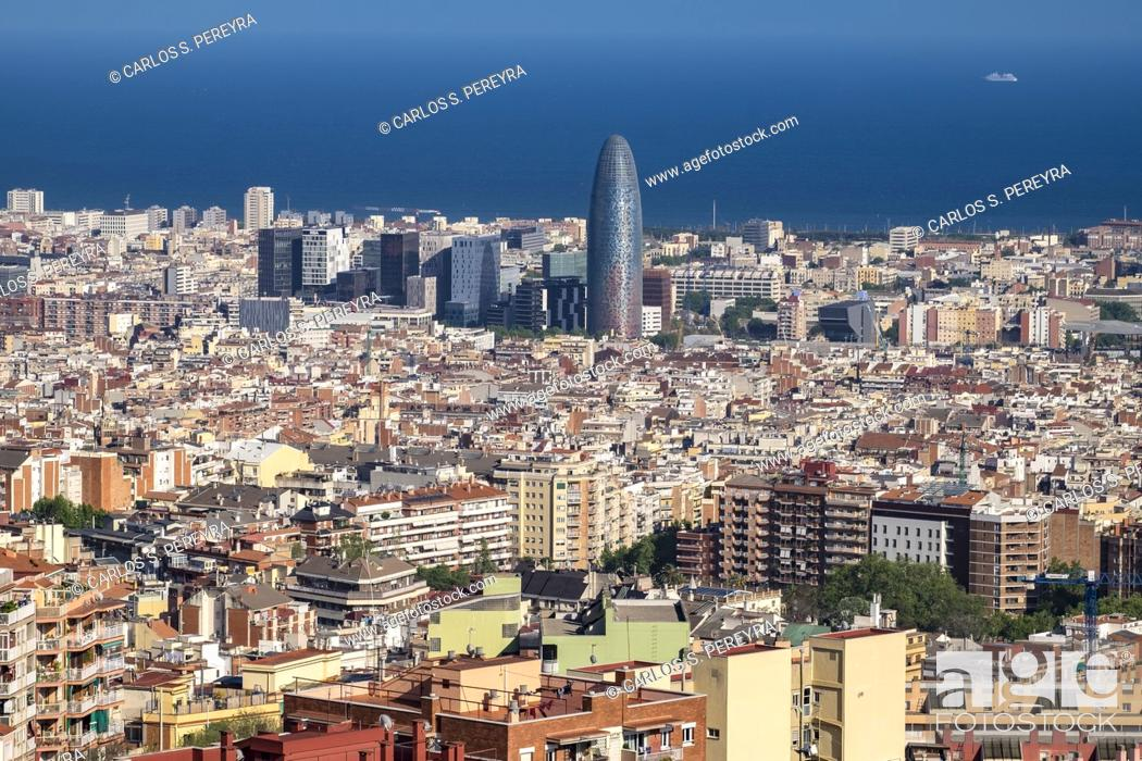 Stock Photo: City of Barcelona cityscape in Catalonia, Spain, high angle viePark Guell.