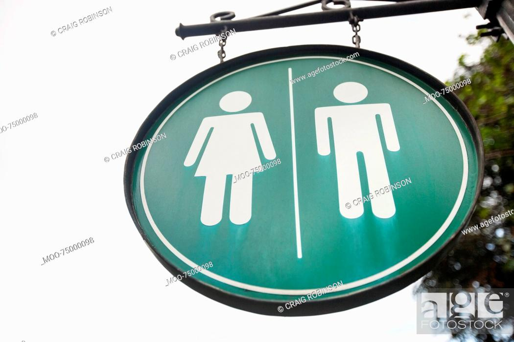 Stock Photo: Female and male toilet sign on street, Manila, Philippines.