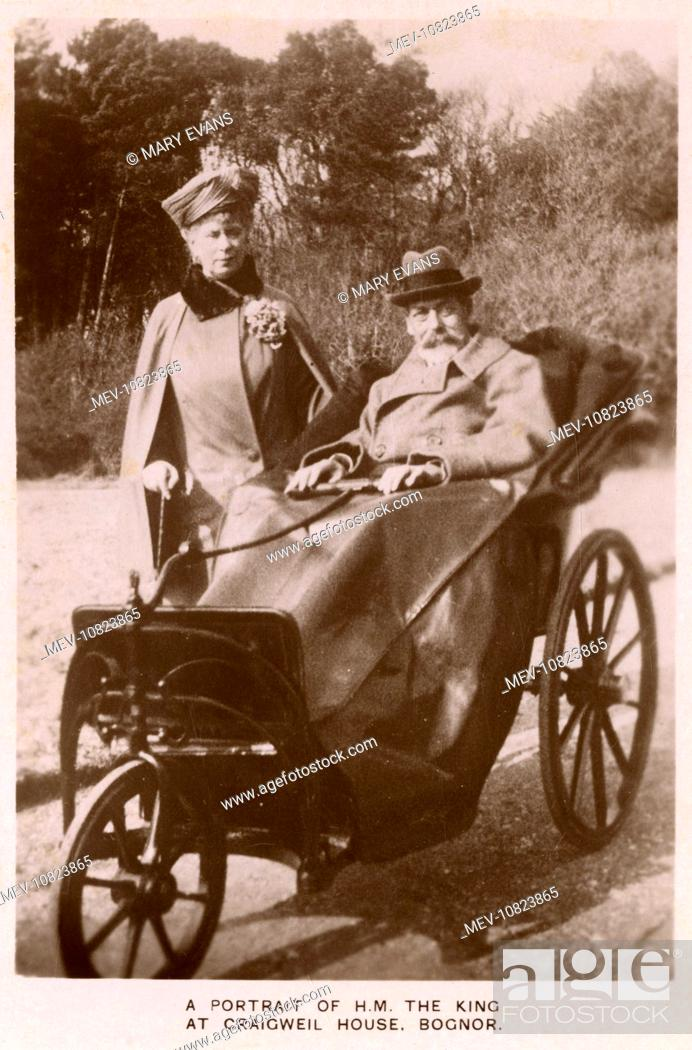 Stock Photo   King George V (1865 1936) (with Queen Mary) In A Bath Chair  At Craigweil House, Bognor, West Sussex.