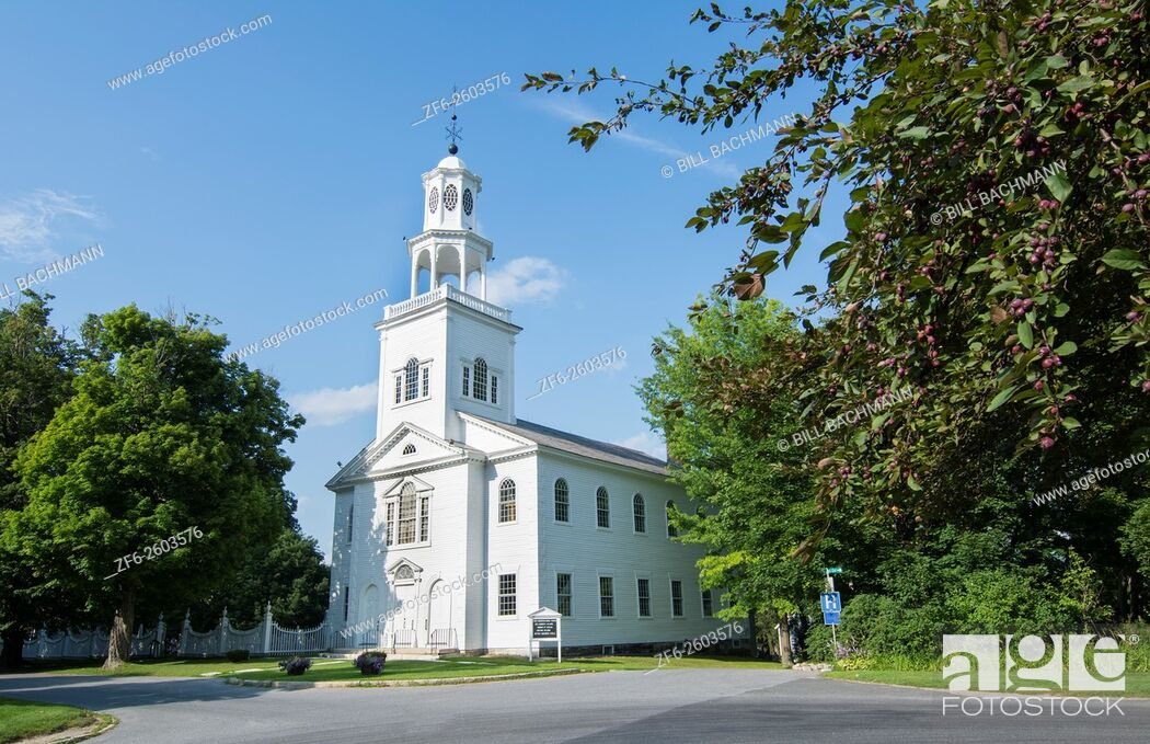 Stock Photo: Bennington Vermont VT, large church called First Congregational Church with steeple built in 1805 and called the Old First Church.