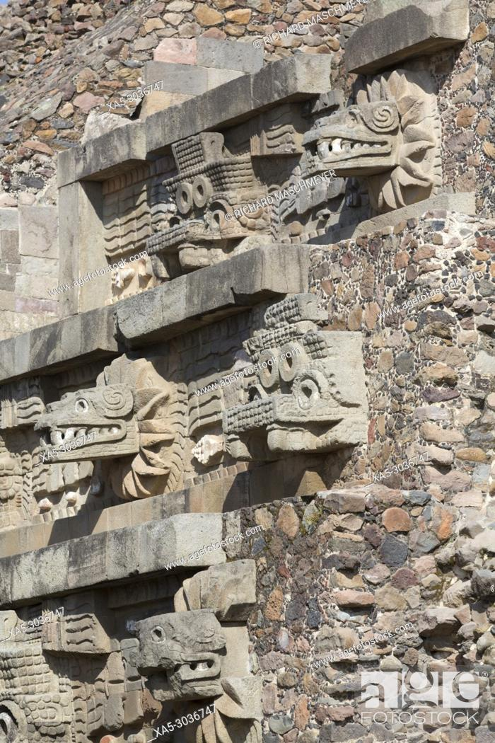 Stock Photo: Temple of the Feathered Serpent (Quetzalcoatl), Teotihuacan Archaeological Zone, State of Mexico, Mexico.