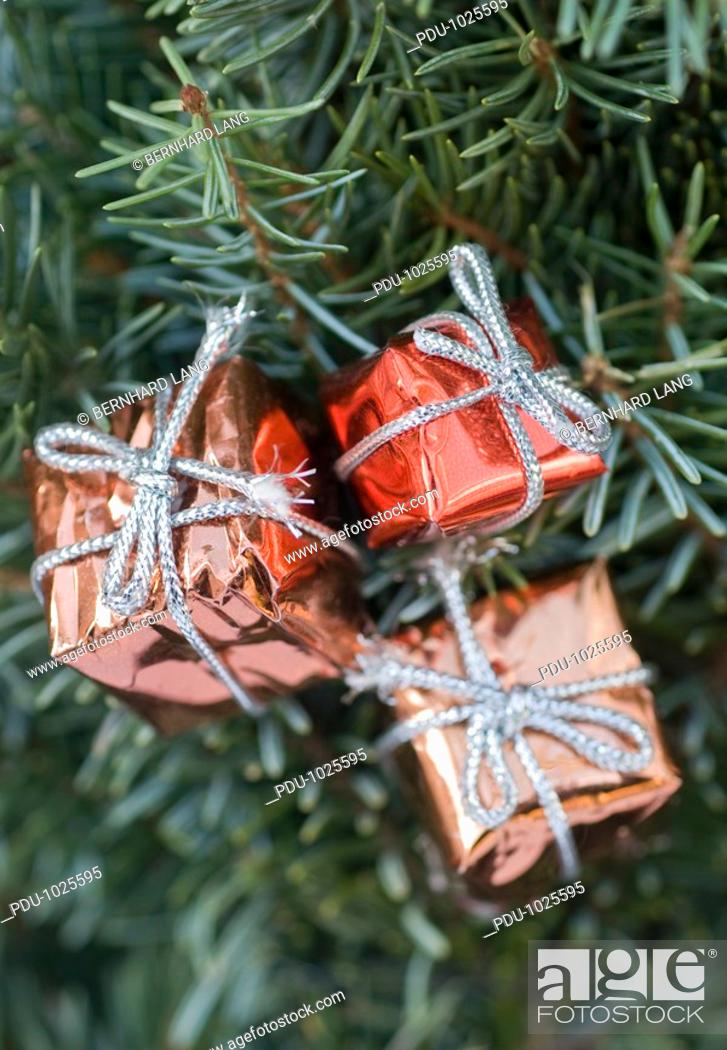 Stock Photo: Christmas tree with decoration, close-up.