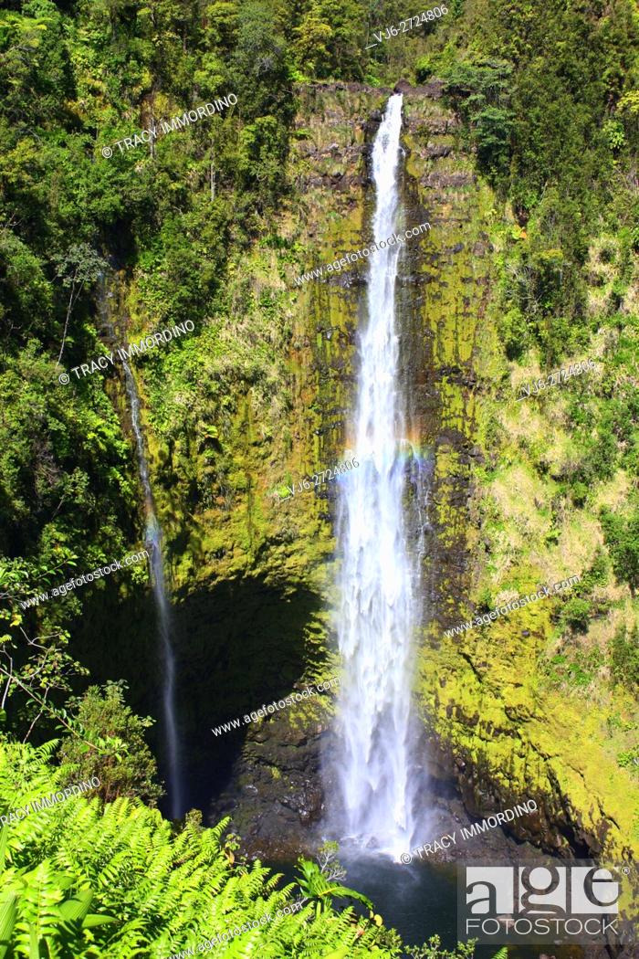Stock Photo: Double waterfall with a rainbow in Akaka Falls State Park in Honomu, Hawaii, USA.