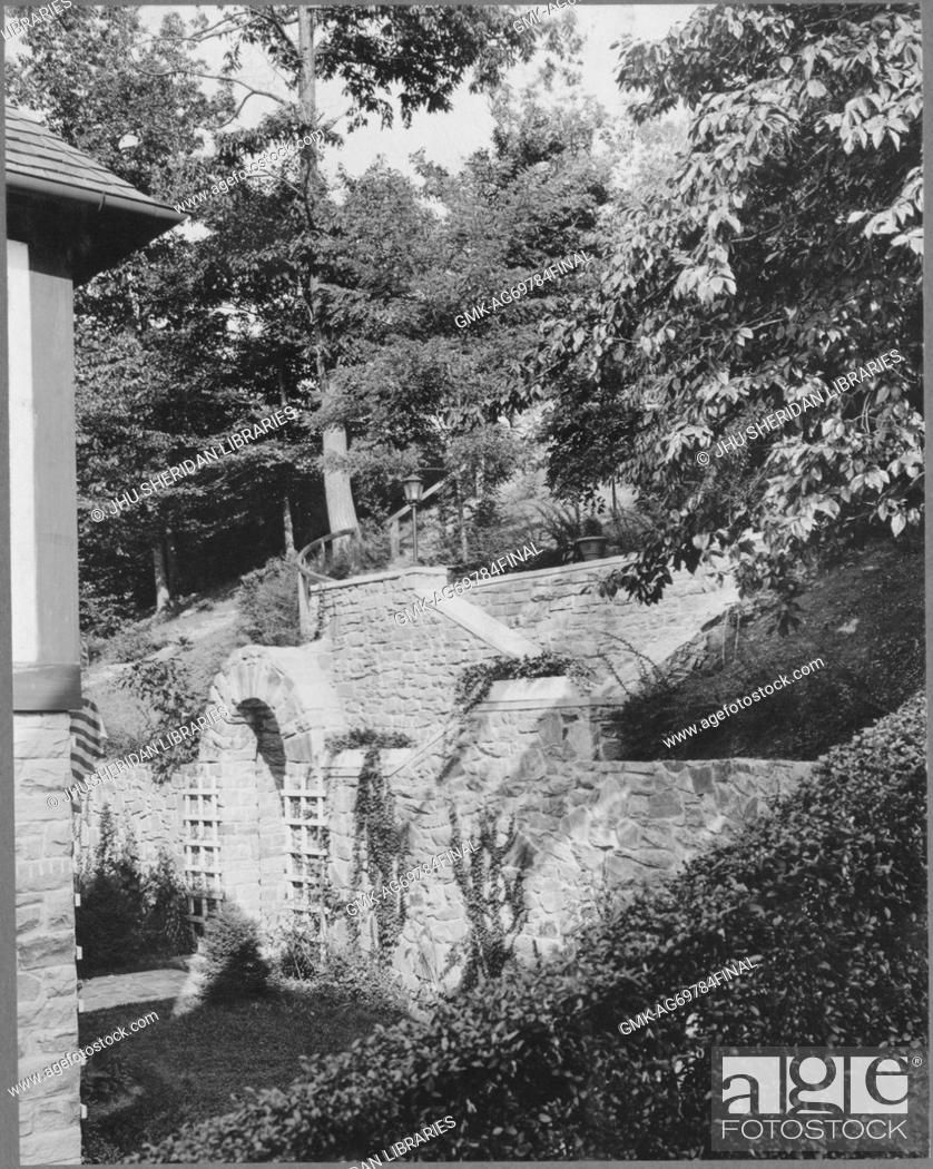 Imagen: Foliage and ivy growing around and upon stonework construction behind house, with trees in the vicinity; Roland Park/Guilford, 1910.