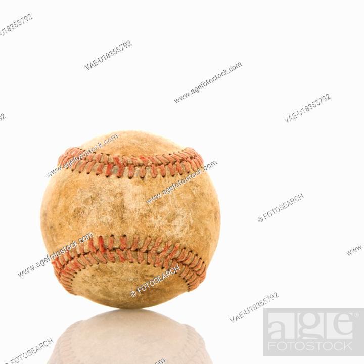 Stock Photo: Dirty worn baseball.