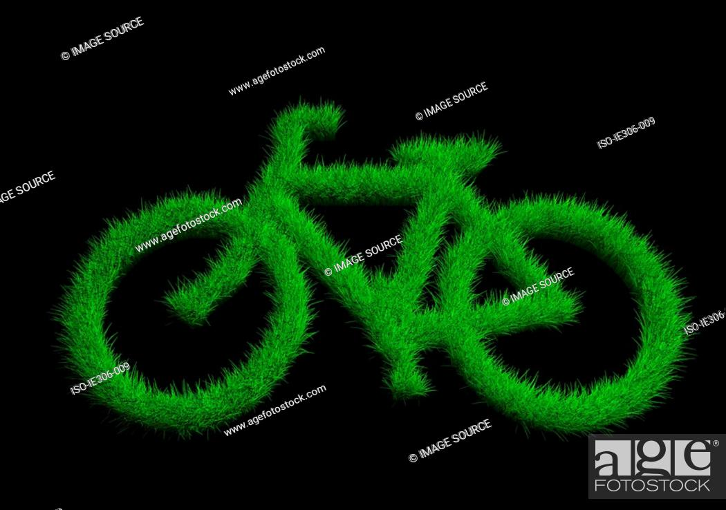 Stock Photo: Bicycle made of grass.
