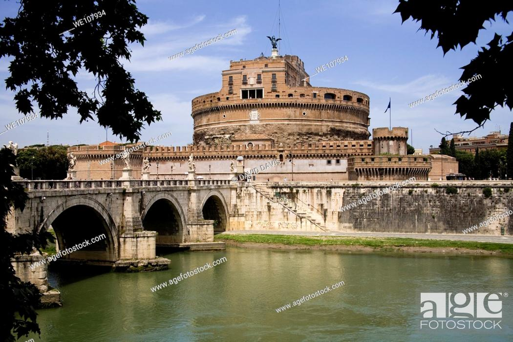Stock Photo: Castel Saint Angelo on the River Tiber Rome Italy.