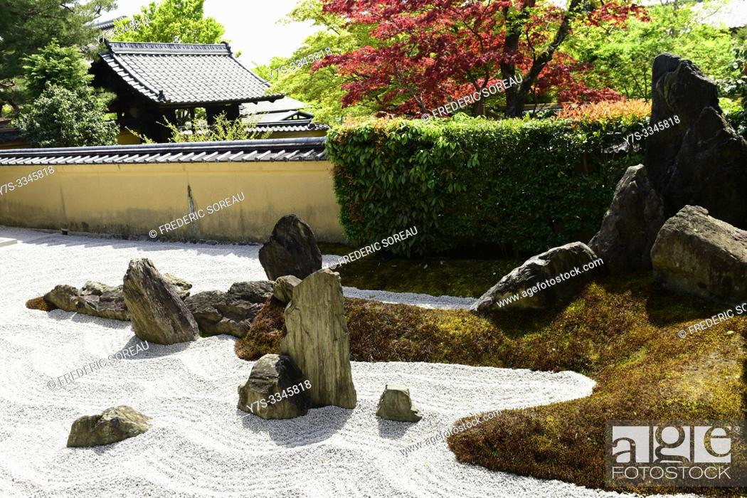 Stock Photo: A Zen garden at the Zuiho-in Zen Buddhist temple, a sub-temple of the Daitoku-ji temple complex in Kyoto, Japan, Asia.