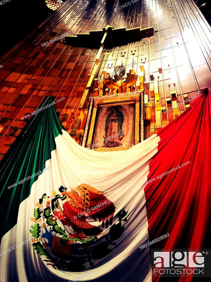 Stock Photo: The Mexican flag decorates the Our Lady of Guadalupe image in the Basilica of Guadalupe in the Tepeyac Hill in Mexico City, Mexico.