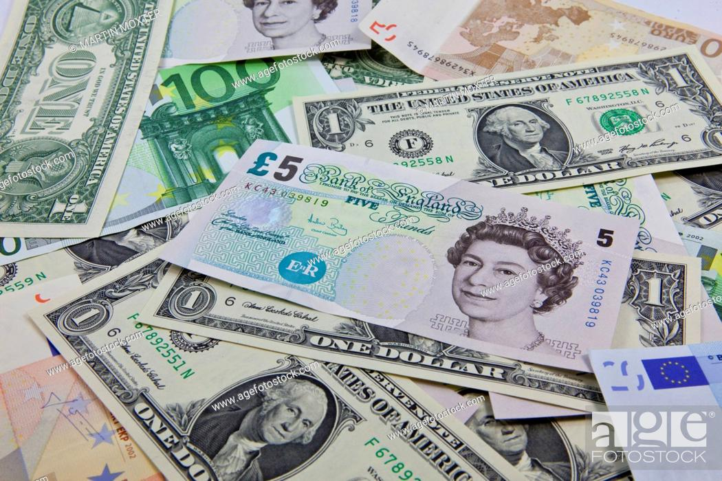 Stock Photo A Mixture Of Bank Notes U S Dollars Euros And British Pounds