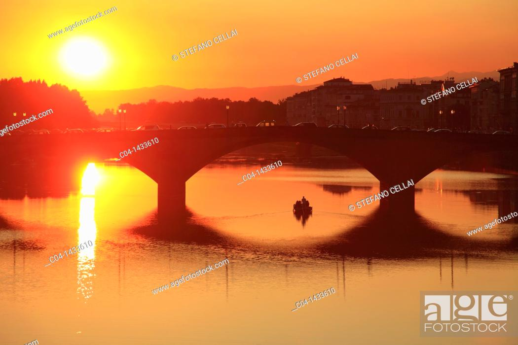 Stock Photo: Ponte alle Grazie over Arno river at sunset, Florence, Tuscany, Italy.