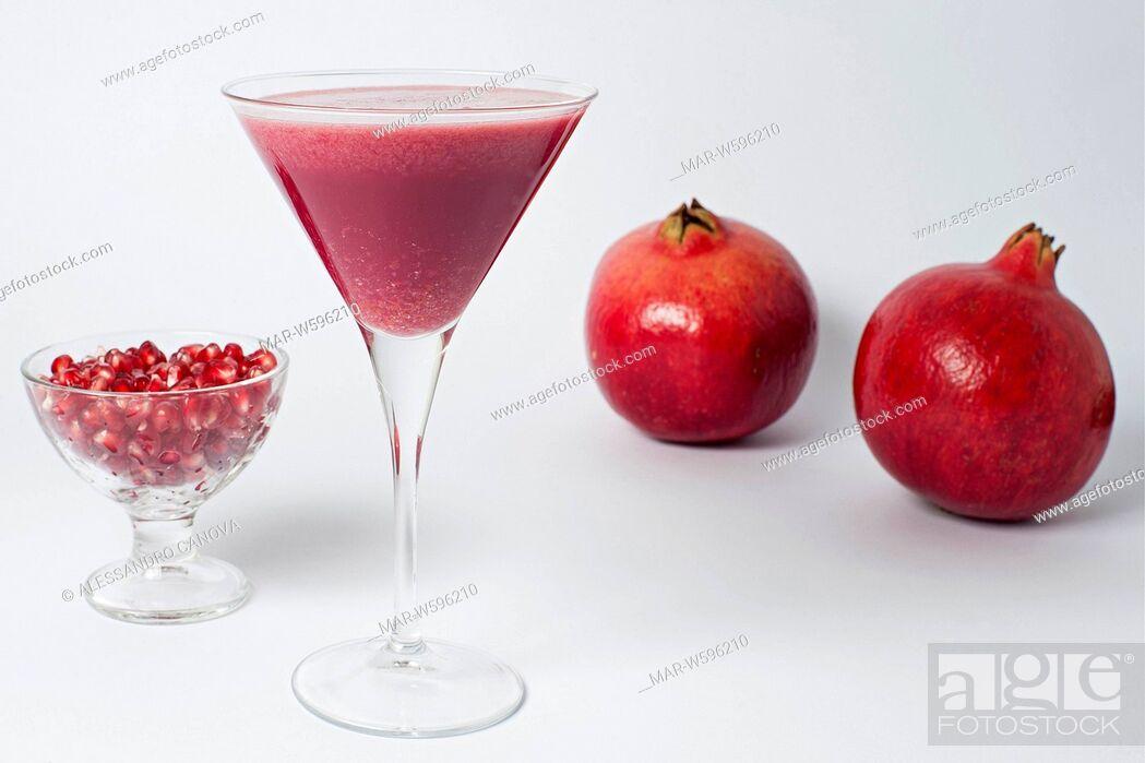 Stock Photo: pommegranate smoothie.