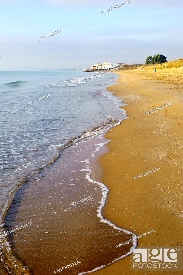 Stock Photo: Pinet Beach, Parque Natural Salinas de Santa Pola, Alicante province, Valencian Community, Spain.