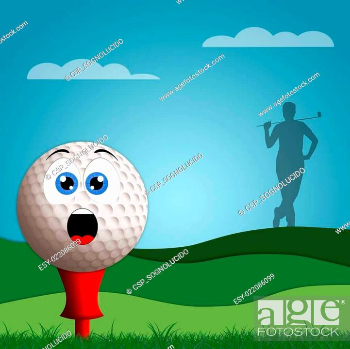 Funny Golf Ball On Golf Course Stock Photo Picture And Low Budget Royalty Free Image Pic Esy 022086099 Agefotostock