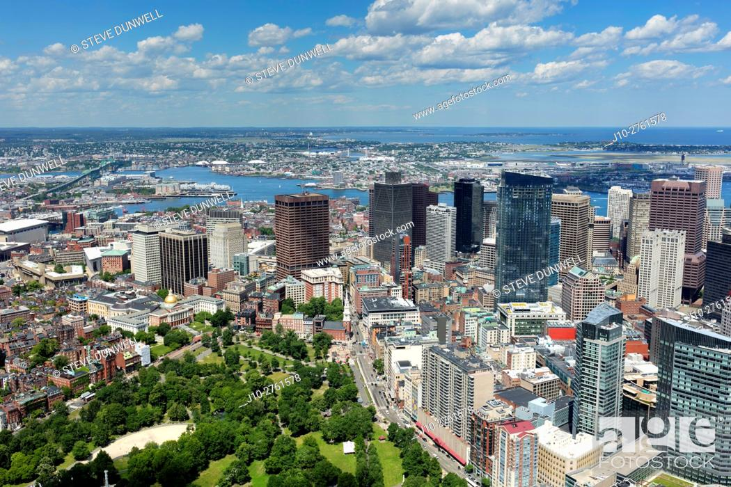 Stock Photo: Beacon Hill and downtown Boston, aerial view, Massachusetts, USA.