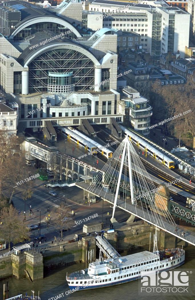 Stock Photo: Charing Cross station viewed from the London Eye London, England, UK.
