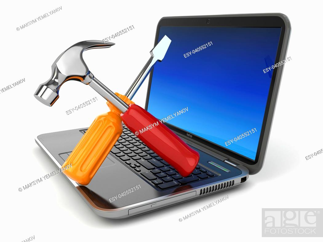 Stock Photo: Online support. Laptop with screwdriver and hammer. 3d.