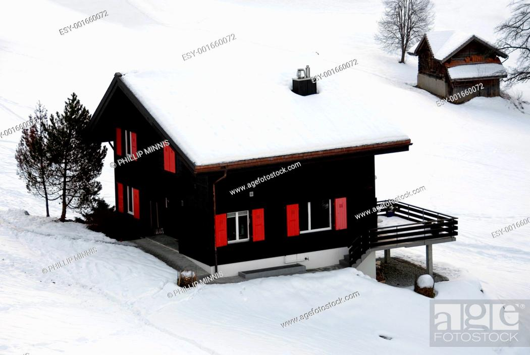 Stock Photo: Chalet in the Snow.