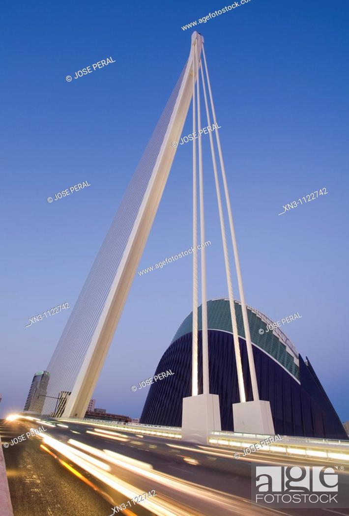 Stock Photo: L'Assut d'Or bridge and the Agora, City of Arts and Sciences. Valencia, Comunidad Valenciana, Spain.