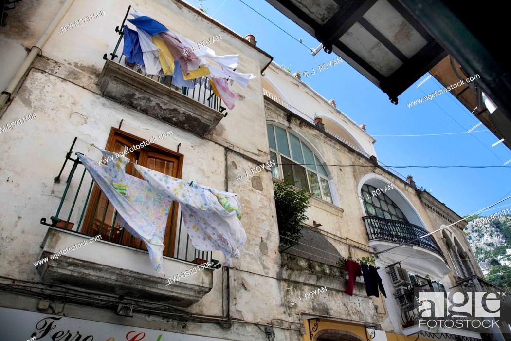 Stock Photo: view at the sky from out of a poor alley, Italy, Amalfi.