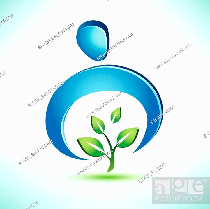 Stock Vector: man cares about a green tree, conceptual vector symbol.