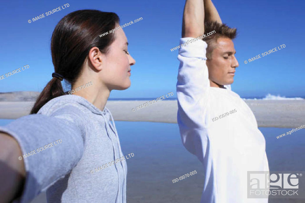 Stock Photo: People stretching.