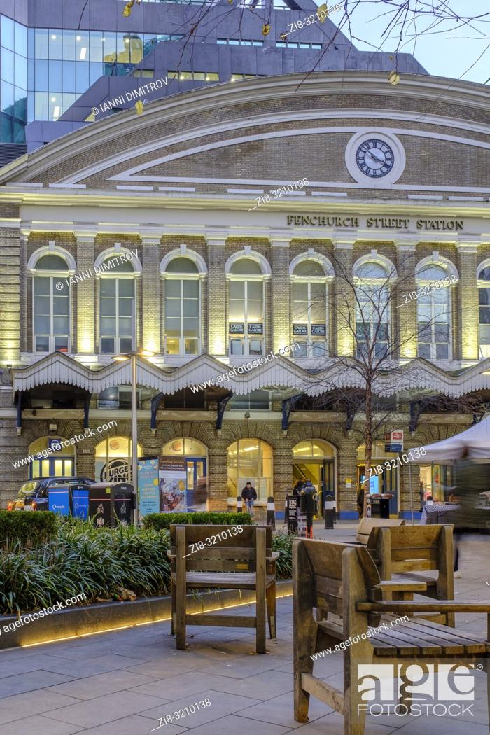 Stock Photo: Main Entrance of Fenchurch Street Station on Fenchurch Place in the Financial District, City of London, England.