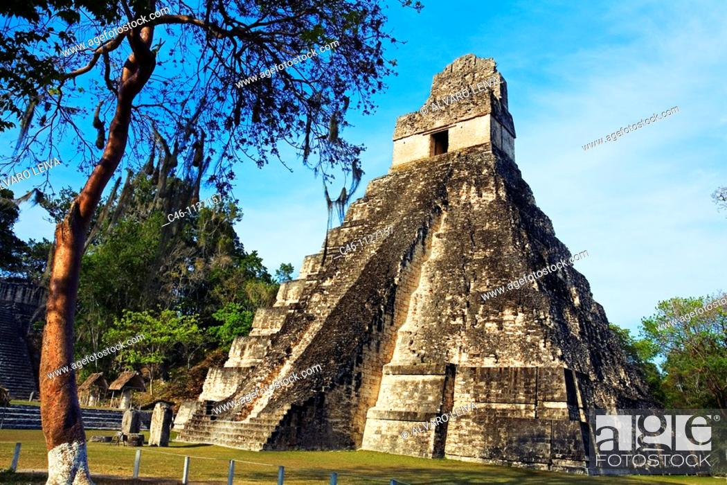 Stock Photo: Great Plaza and Temple of the Giant Jaguar.Temple I. Mayan ruins of Tikal. Guatemala.